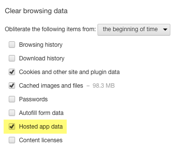 "Google Chrome ""Clear Browsing Data"" Options"