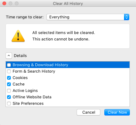 "Firefox ""Clear All History"" Options"