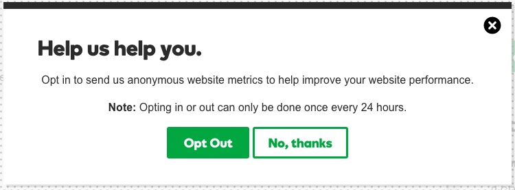 GoDaddy - New Hosting Experience - Opt Out button