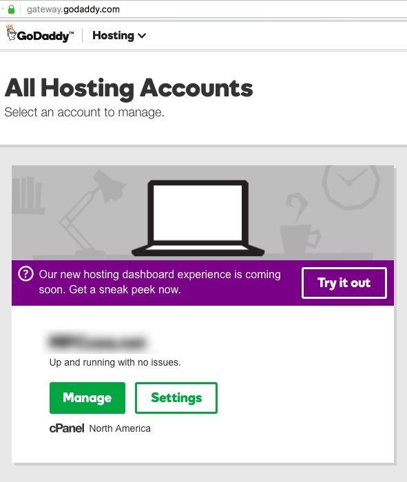 GoDaddy - New Hosting Experience - 'Try it out' button