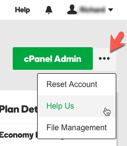 GoDaddy - New Hosting Experience - three dots menu - Help Us